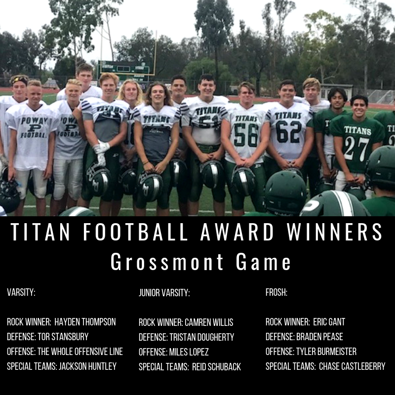 TITAN FOOTBALL AWARD WINNERSagainst Westview (1)