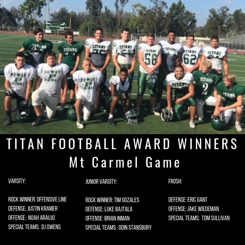 TITAN FOOTBALL AWARD WINNERSagainst Westview